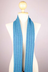 100% Cashmere Stripes of Blue Pashmina Muffler