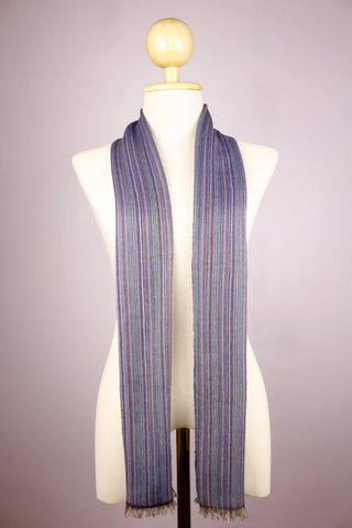 Multicolored Stripes Blueish Sheep Wool Muffler