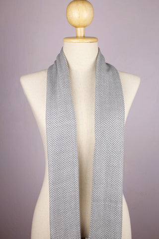 100% Wool Chevron Gray Scarf/Muffler