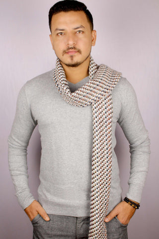100% Cashmere Multicolored Hounds-tooth Jacquard Scarf/Muffler