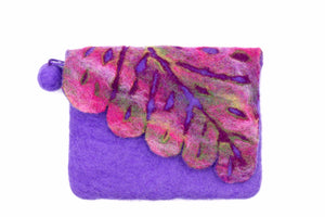 Leaf Cut Front Flap Purple Hand Purse