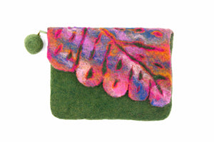 Leaf Cut Front Flap Green Hand Purse