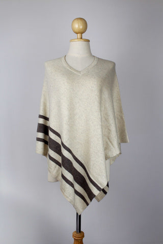 100% Cashmere Bottom Striped Off White Women's Poncho