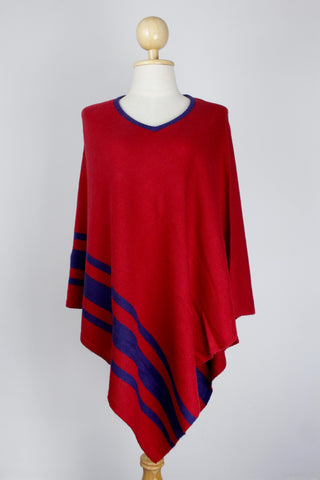 100% Cashmere Bottom Striped Red Women's Poncho