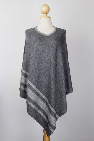 100% Cashmere Bottom Striped Dark Gray Women's Poncho