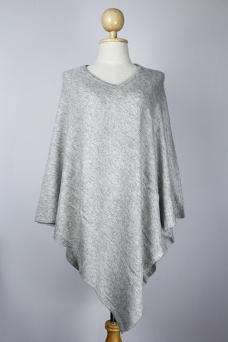 100% Cashmere Light Gray Women's Poncho