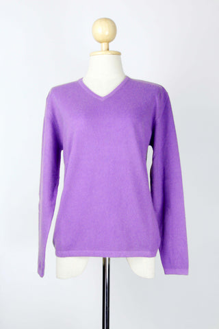 Women's Purple Orchid V-Neck Cashmere Pullover/Sweater