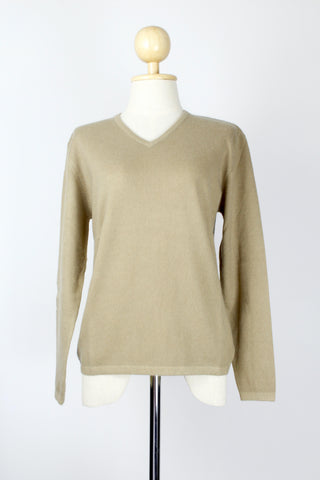 Women's Bisque V-Neck Cashmere Pullover/Sweater