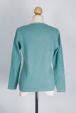 Women's Cadet Blue V-Neck Cashmere Pullover/Sweater