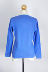 Women's Cornflower Blue V-Neck Cashmere Pullover/Sweater