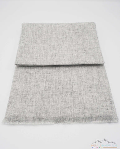 100% CASHMERE LIGHT GRAINY GRAY PASHMINA SHAWL/SCARF/STOLE/WRAP
