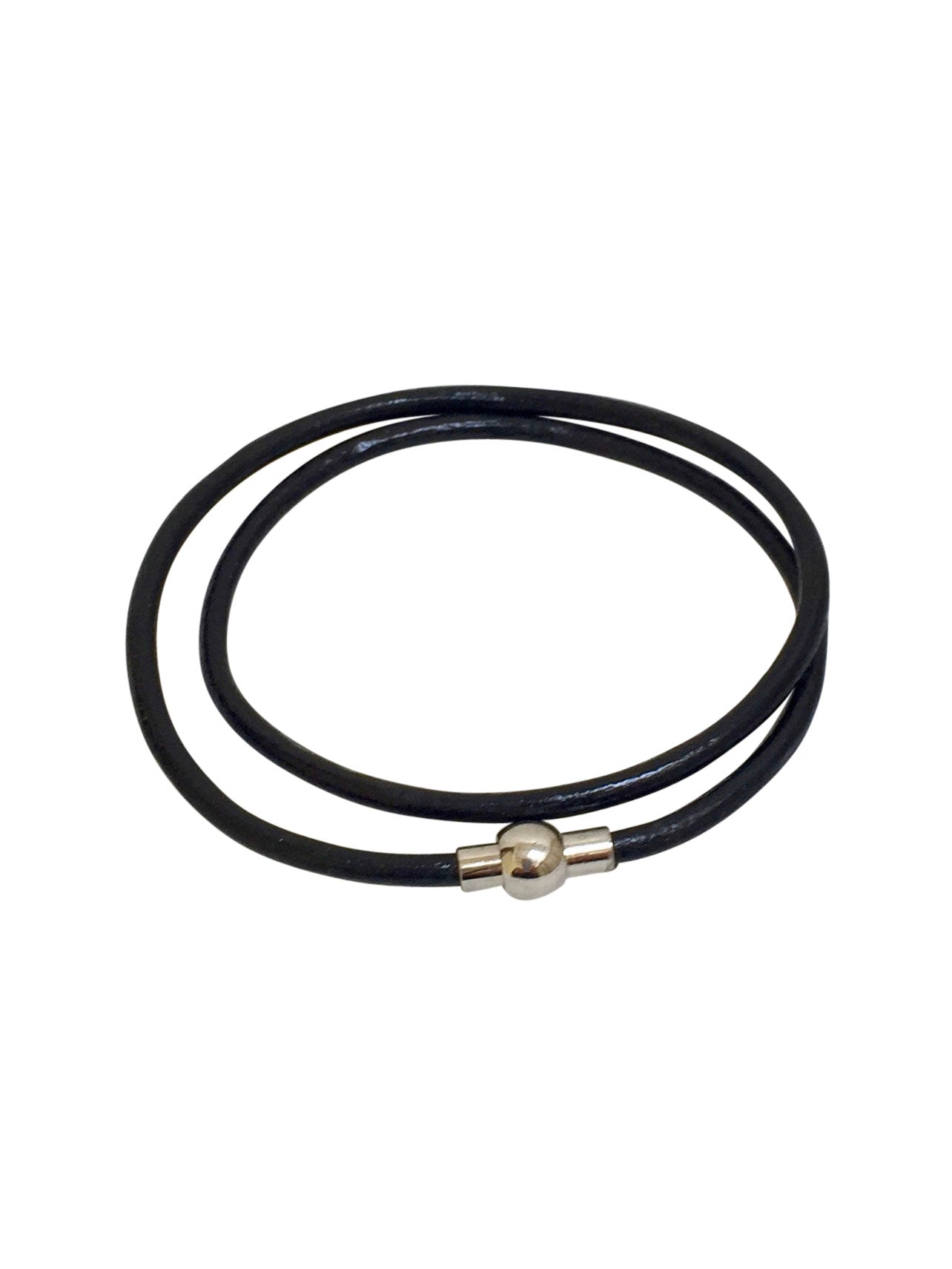 Leather Black Double Bracelet