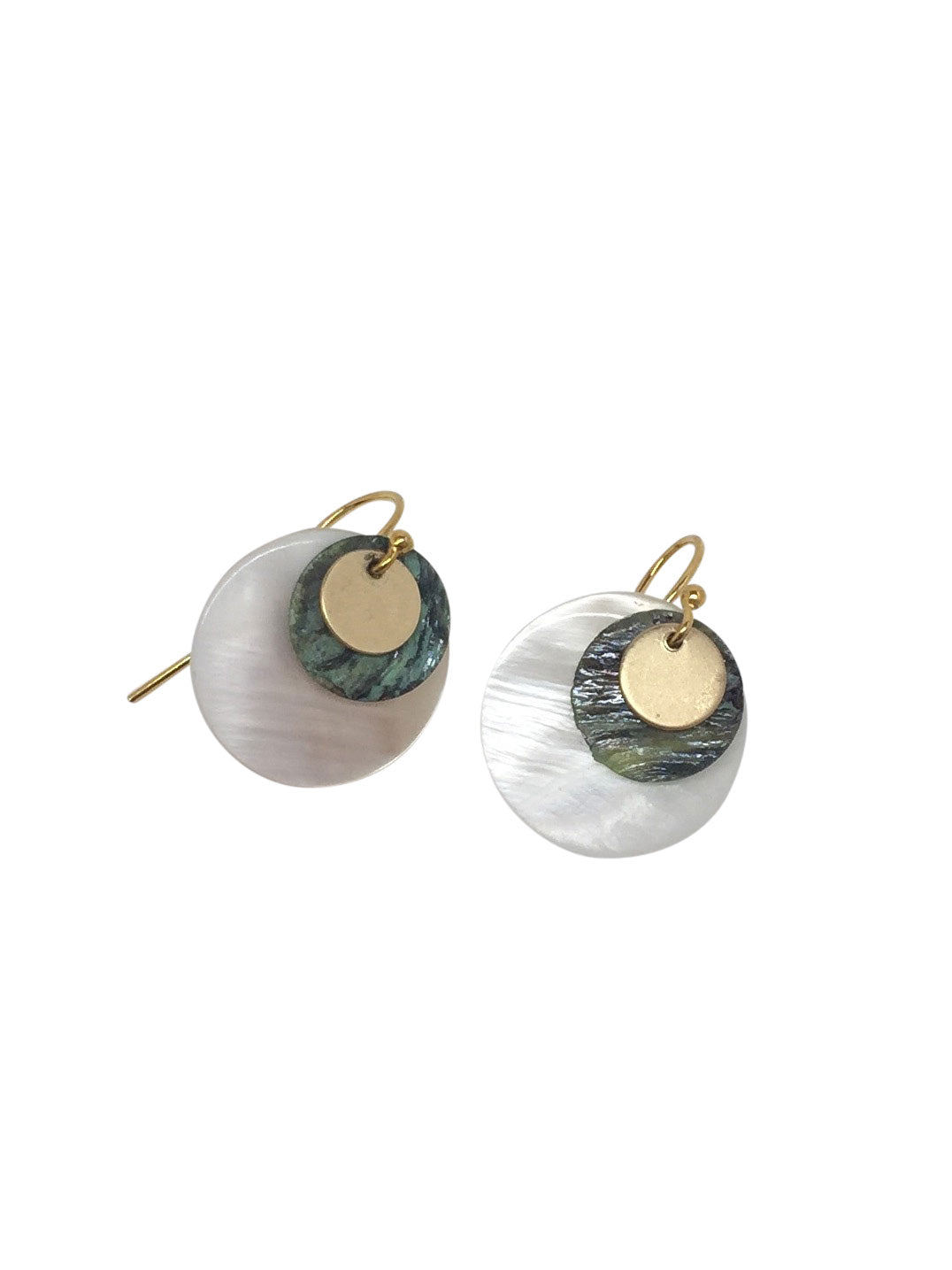 """Layering up""-green 24K gold-filled hook, white and green shell"