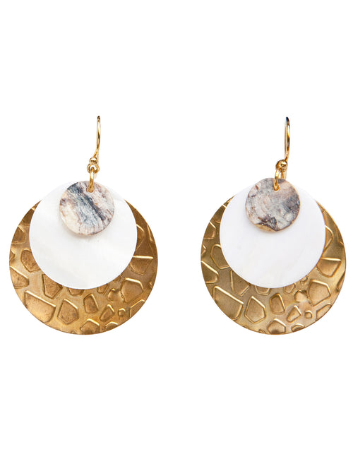 """Celebrate-animal print"" 22K gold plated (over 925sterling silver hooks), messing animal texture printed circle, and shell"