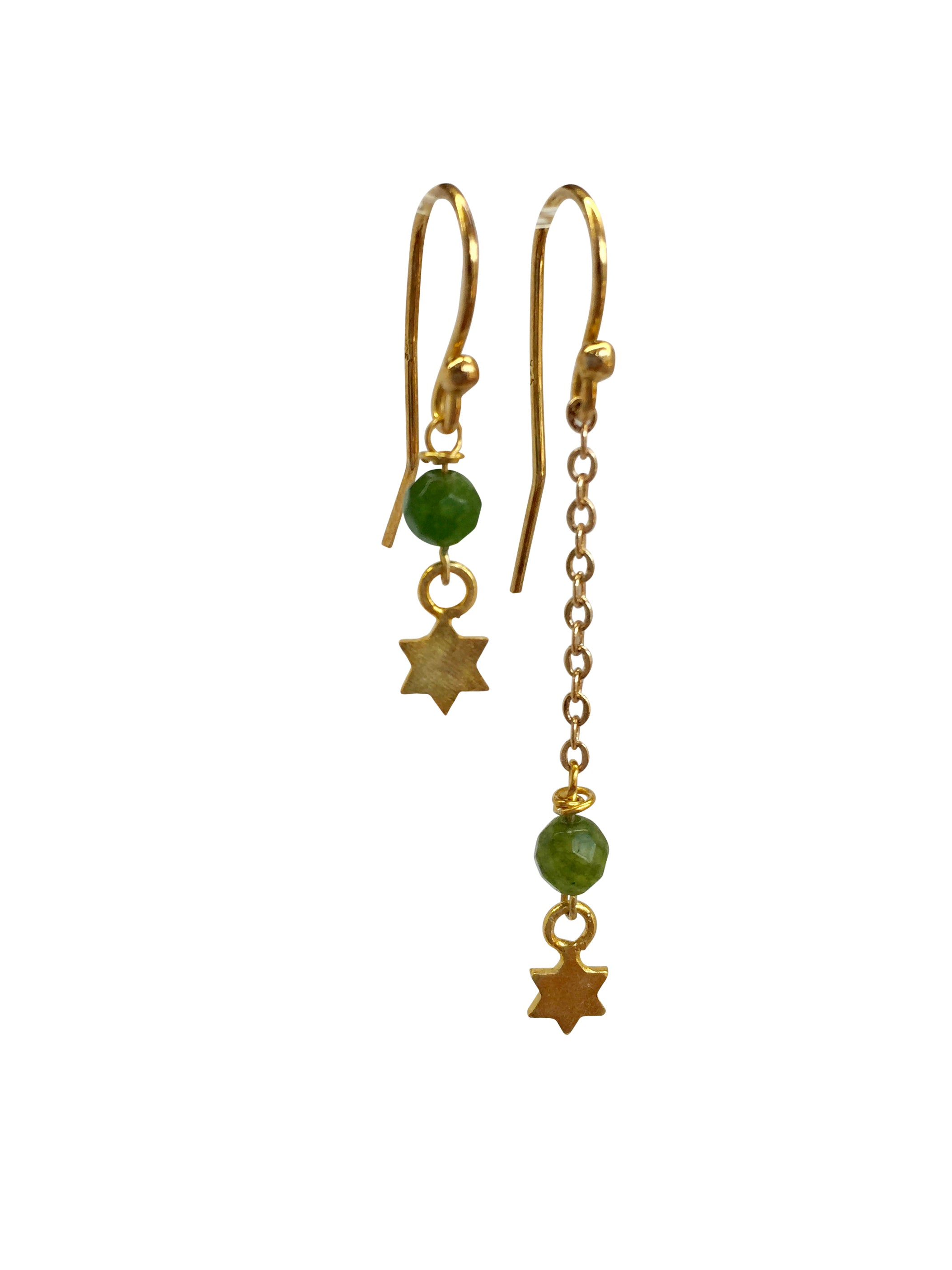 """Drop it"" Gold Plated hooks, chain and stars with colourful bead"
