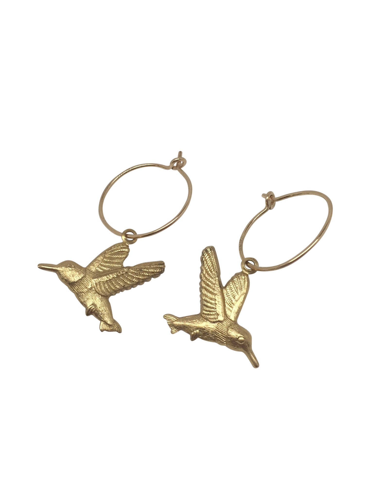 """Vintage Animals"" Gold Filled Little Hoops with Bee/Colibri/Dragonfly"