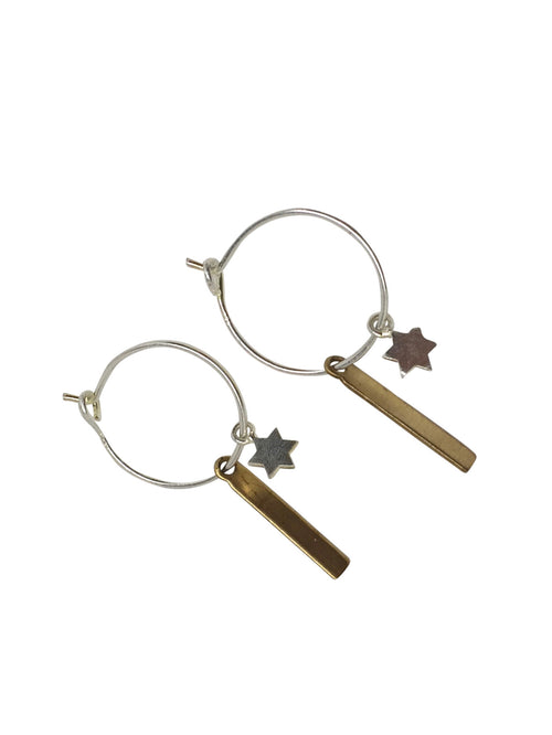 "925 Sterling Silver Little Hoops ""Bar&star"""