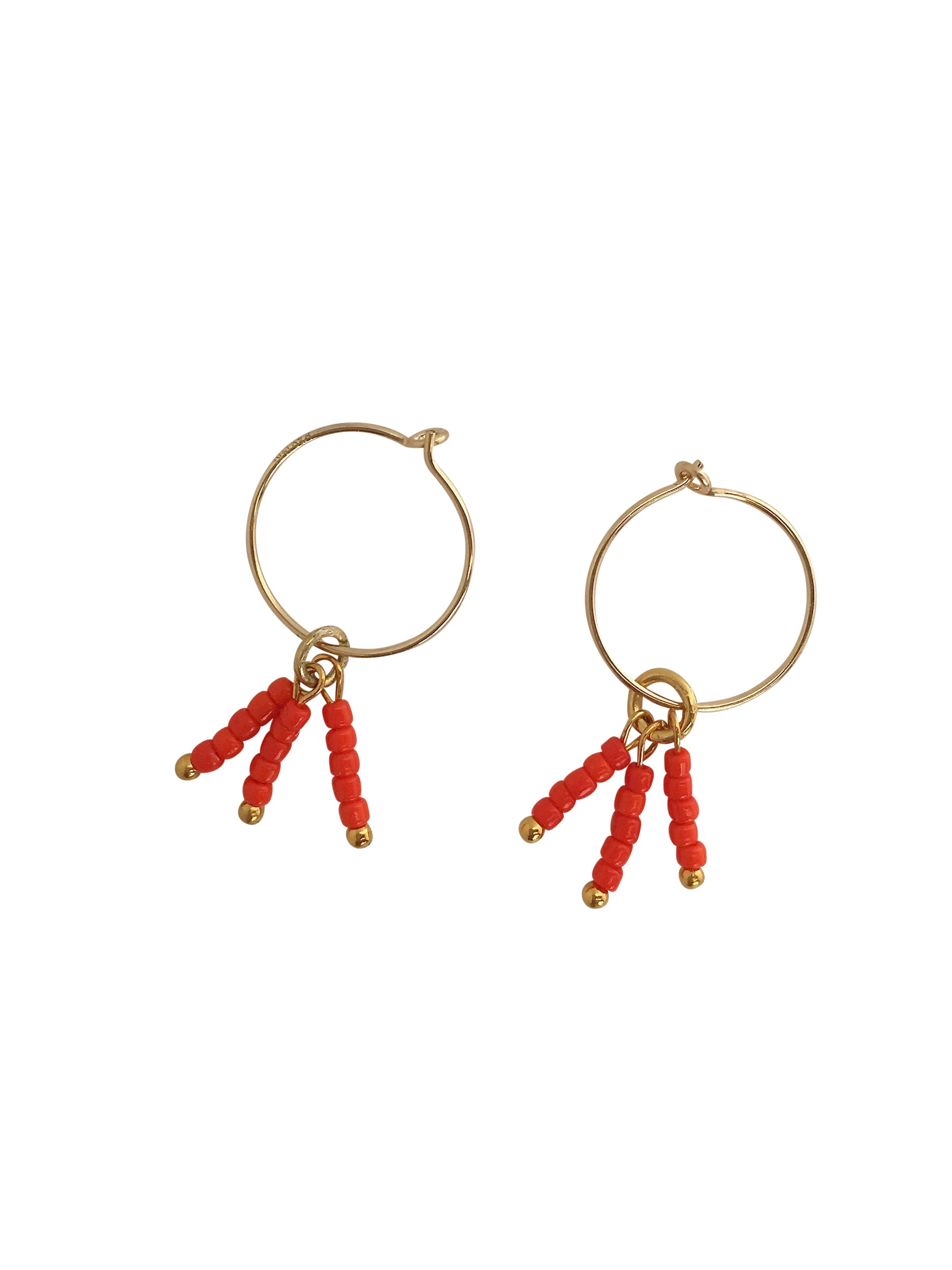 """Shine Bright"" Little hoops 22K Gold-filled, tiny glass beads in powerful colours"