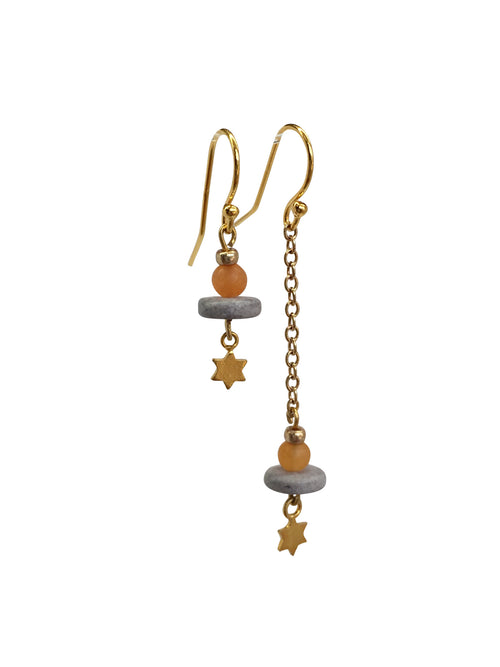 """Drop it"" Gold Plated hooks, chain and stars Aventurine and Lava beads"