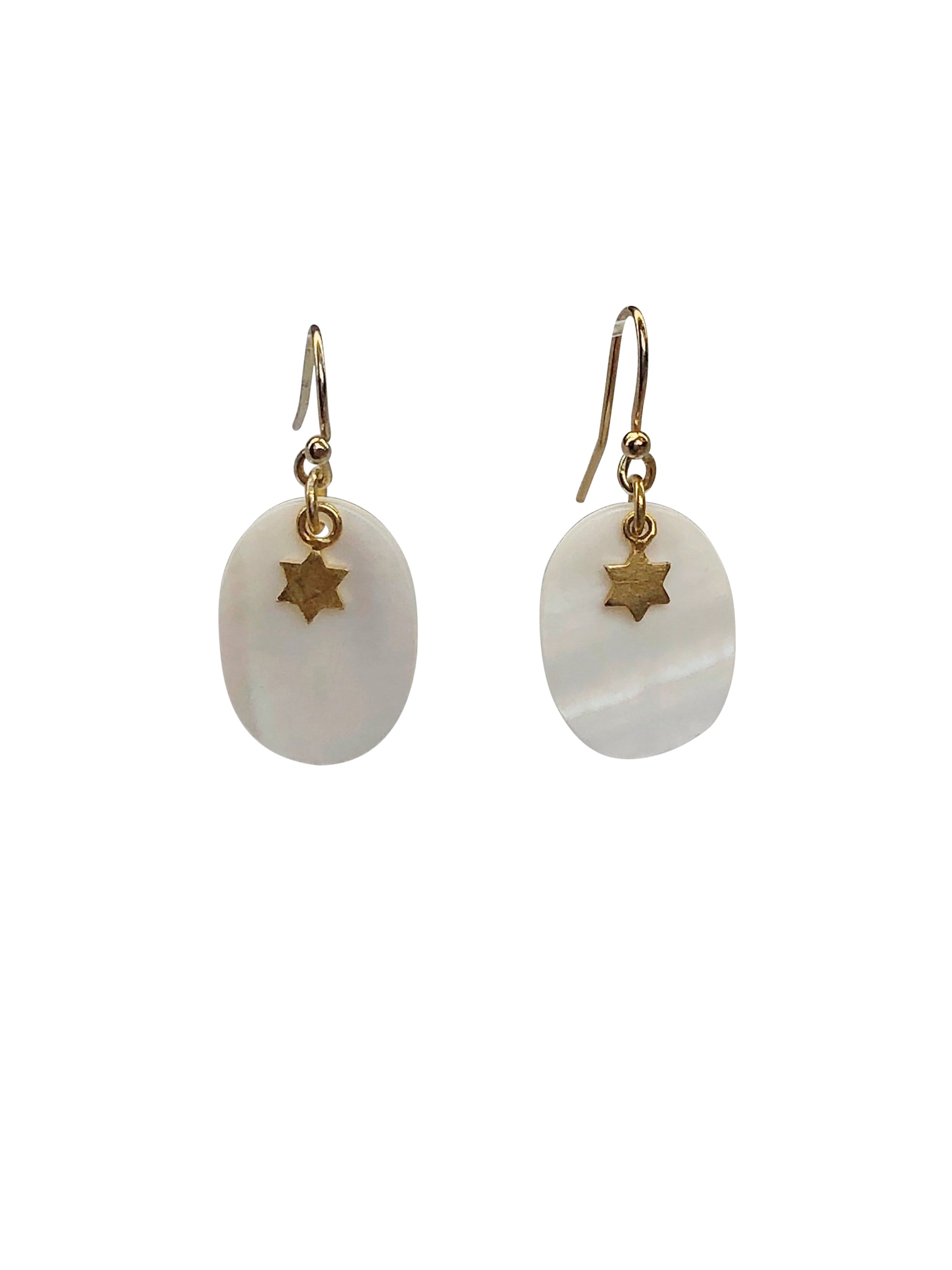 """Simply Beautiful"" gold-filled hook white shell Gold plated star"