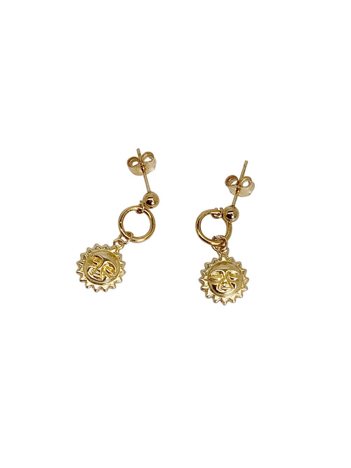 Earrings oorbellen goldfilled bedel zon studs sun oorknopjes