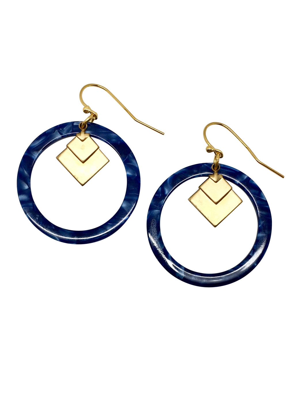 earrings resin blauw golfplated messing