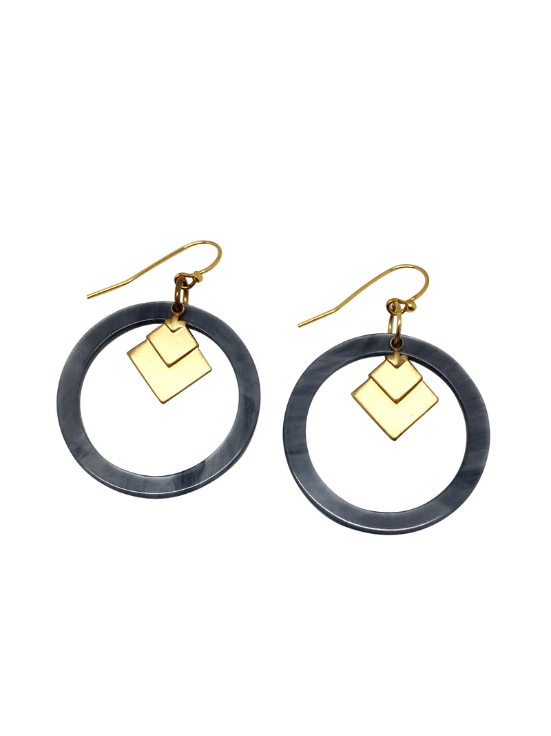 earrings grey resin goldplated