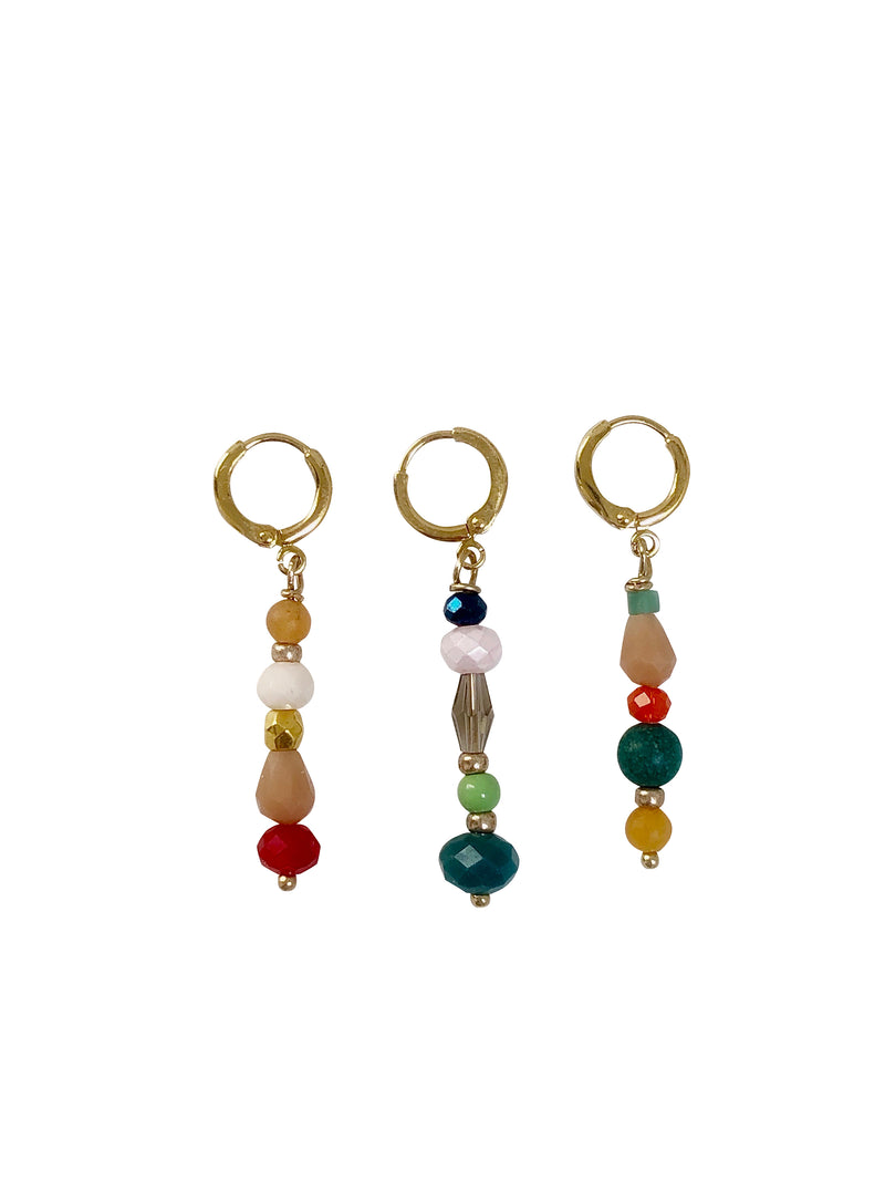 earrings, hoops, colour, green, peach, gold plated