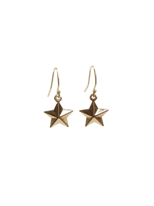 """3D Stars"" Gold Filled hooks Gold Plated stars"