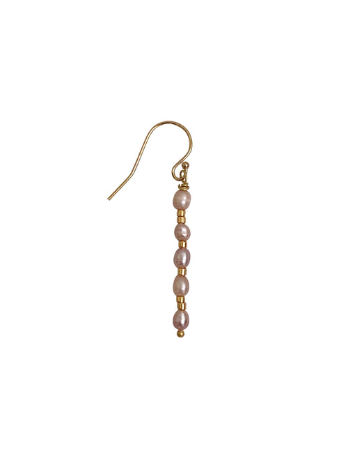 "Earring: ""Stack of Pearls"" Goldfilled hook small light-pink Pearls (Sold per Piece)"