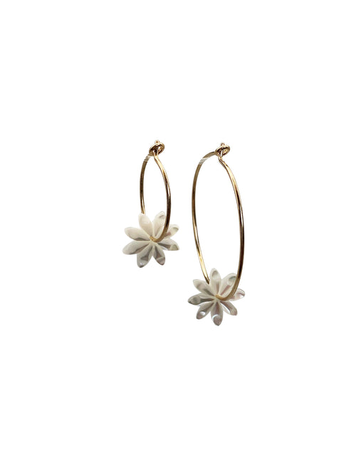 """White Flower"" Gold Filled hoops Shell flower (available in 2 sizes)"