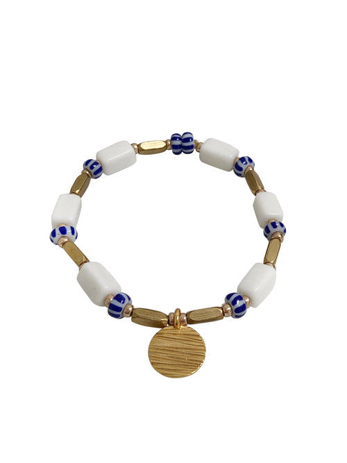 """Freshwater"" Bracelet with glass and matte gold beads"