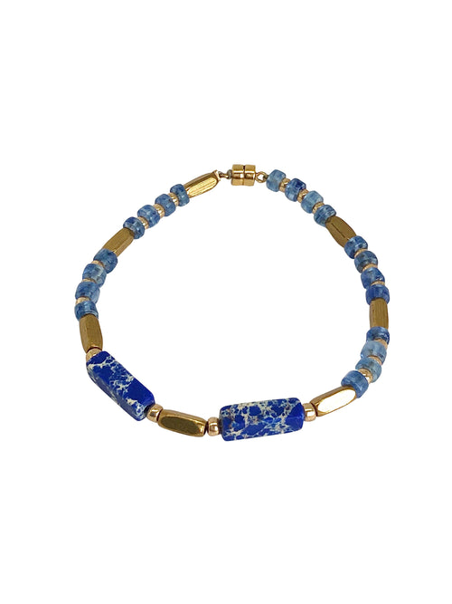 """True Blue"" Iolite blue, Emperor stone, Matte Gold beads and magnetic lock"