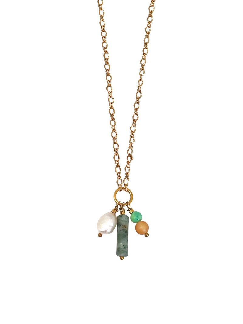 necklace, gold, green, pearl, naturalstone