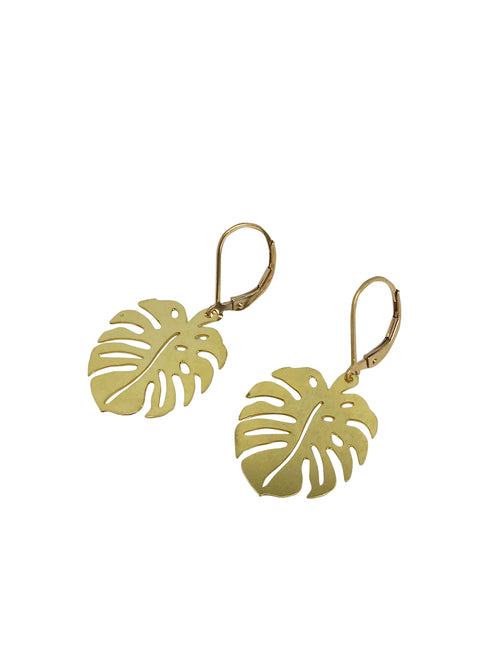 Monstera Leafs -gold-filled hooks-Raw Messing Leaf