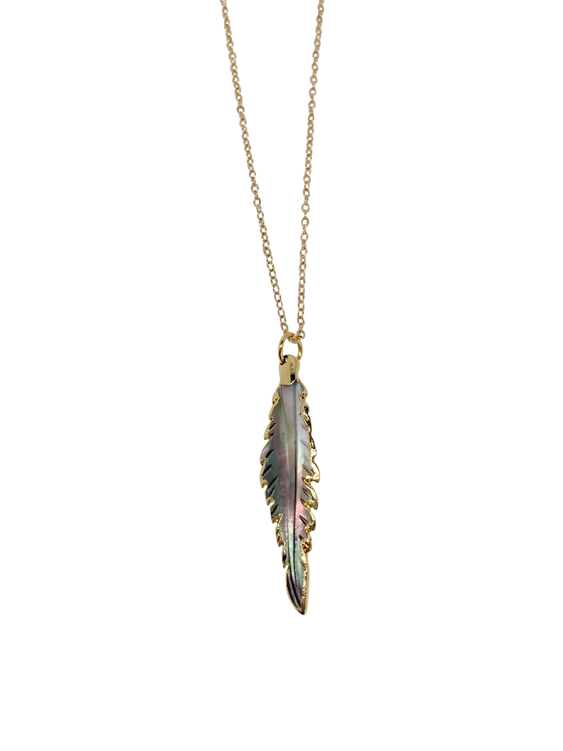 Long Champagne-Gold plated Chain Grey/Brown Shell Feather Shell