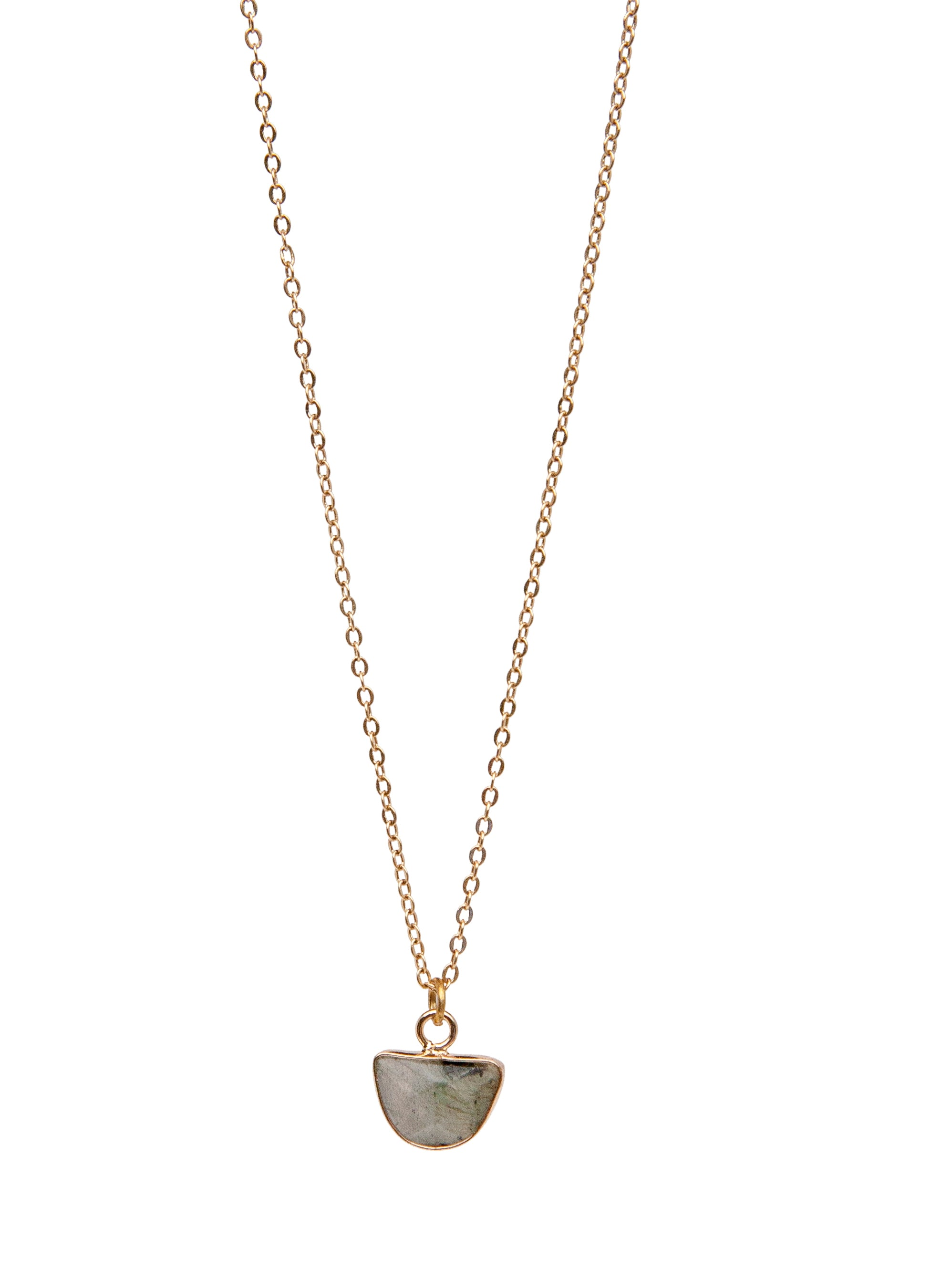 24K Champagne-Gold plated chain, natural stone hanger (available with different stones)