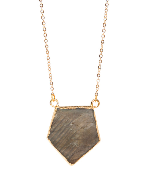 24K Champagne-Gold plated necklace, Labradorite stone prism