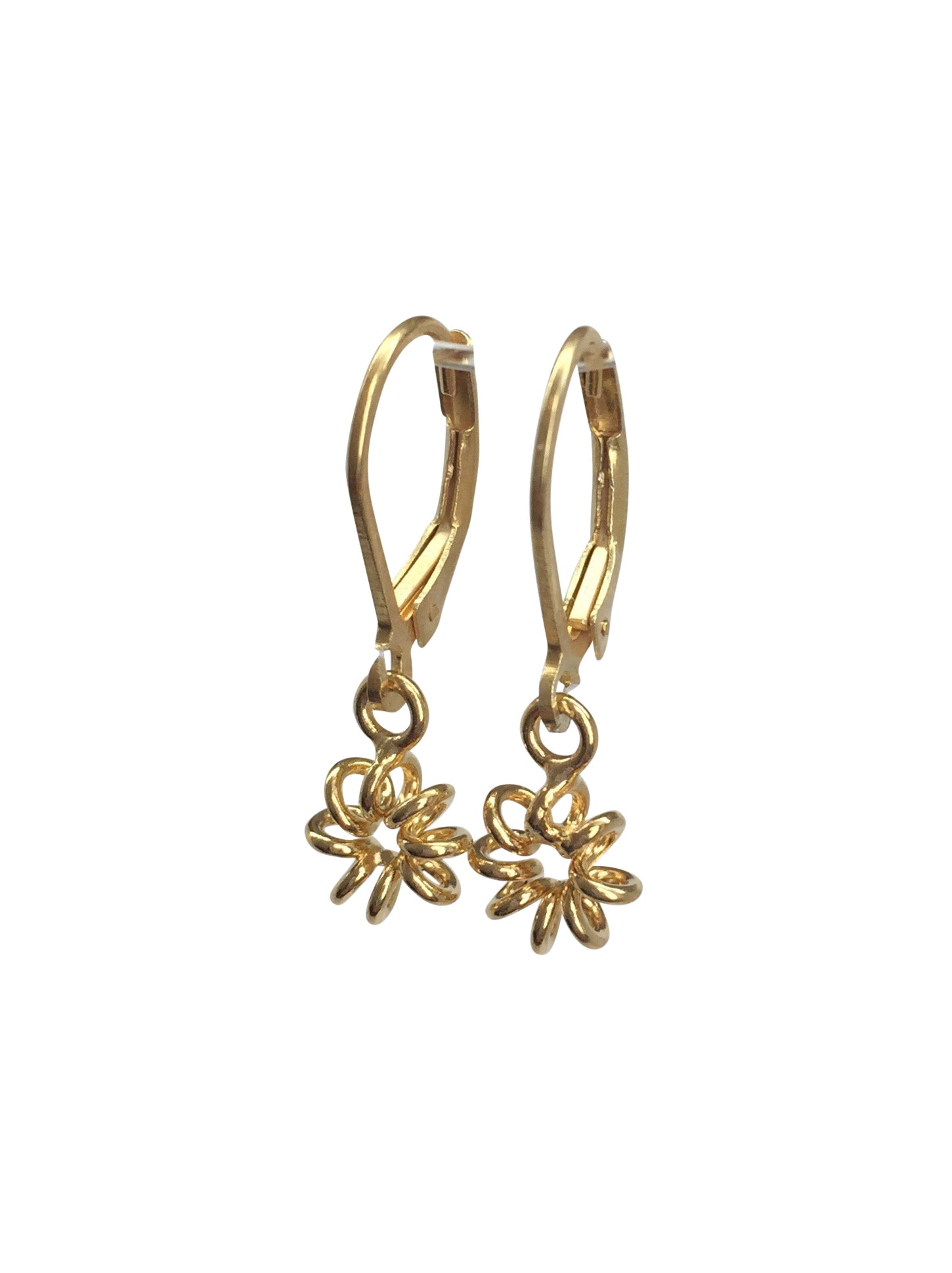 """Spiral Flower"" 22K gold plated (over 925 Sterling Silver) closing hooks"