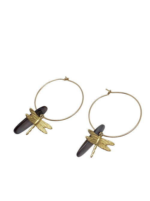 """Fly Away"" Gold Filled hoop dragonfly and grey shell"