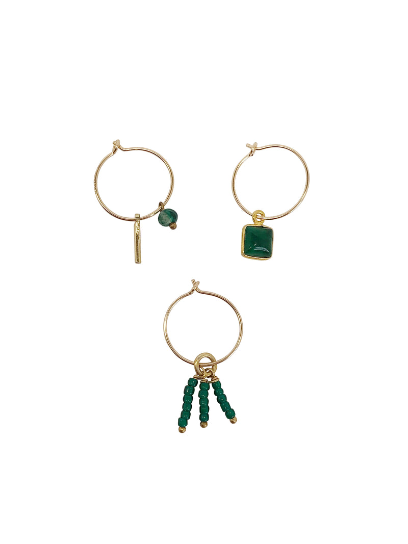 gold-filled hoops green natural stone Tourmaline Toermalijn single piece mixandmatch