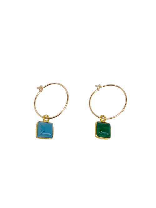 gold-filled hoops blue green natural stone tourmaline Toermalijn single piece mixandmatch