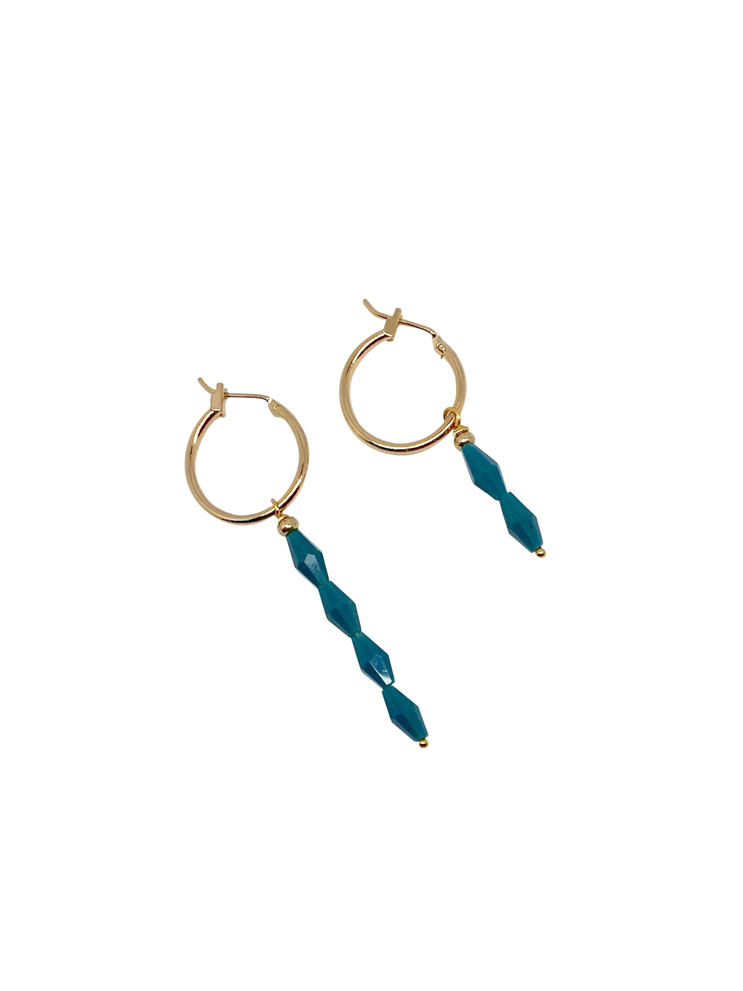 """Stacking Cones"" Gold Plated rings with teal facet beads"