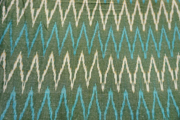 Green Handloom Ikat Fabric Sold by Yard
