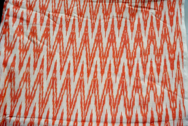 Peachy Orange and White Handloom Ikat Fabric Sold by Meter