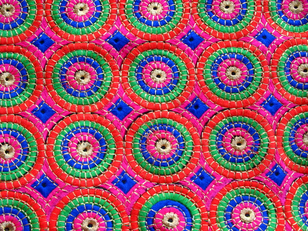 Circular Pattern Embroidered Cotton Fabric Sold by Half Yard