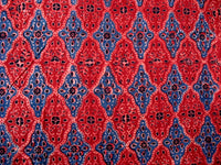 Rust and Blue Hand printed Indian Cotton Fabric Sold by Yard