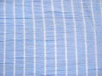 Blue and white striped semi sheer fabric