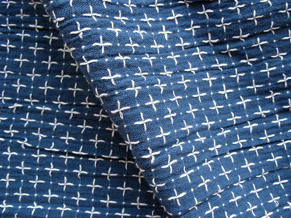 Cross stitch detail soft cotton gauze fabric for Caftans