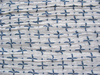 Blue and white stitch detail soft cotton gauze fabric